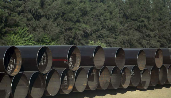 Line Pipes stacked at site for laying.